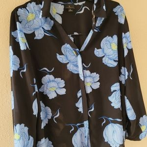 Black and blue floral Blouse by Worthington